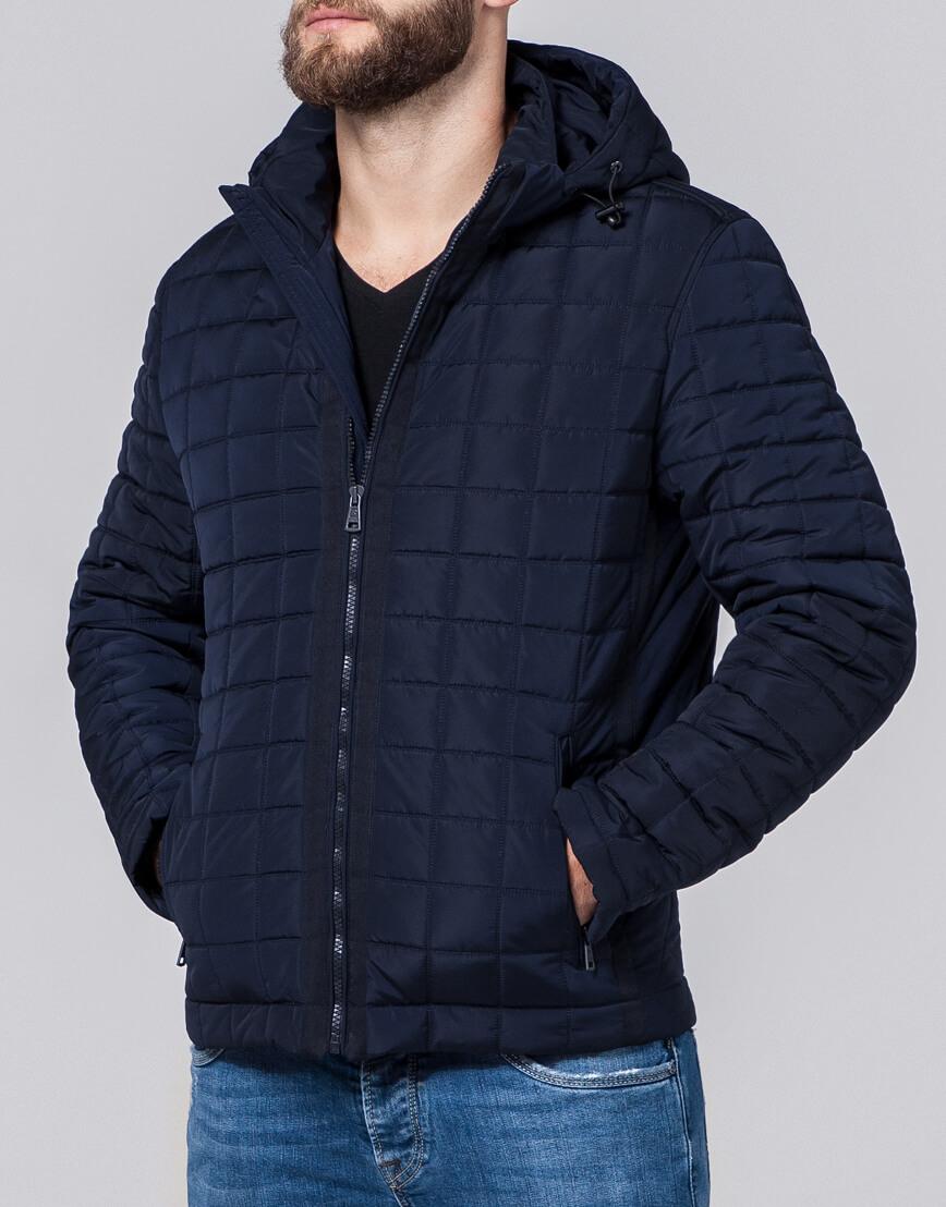 Темно-синяя куртка модного фасона модель 2475 фото 2