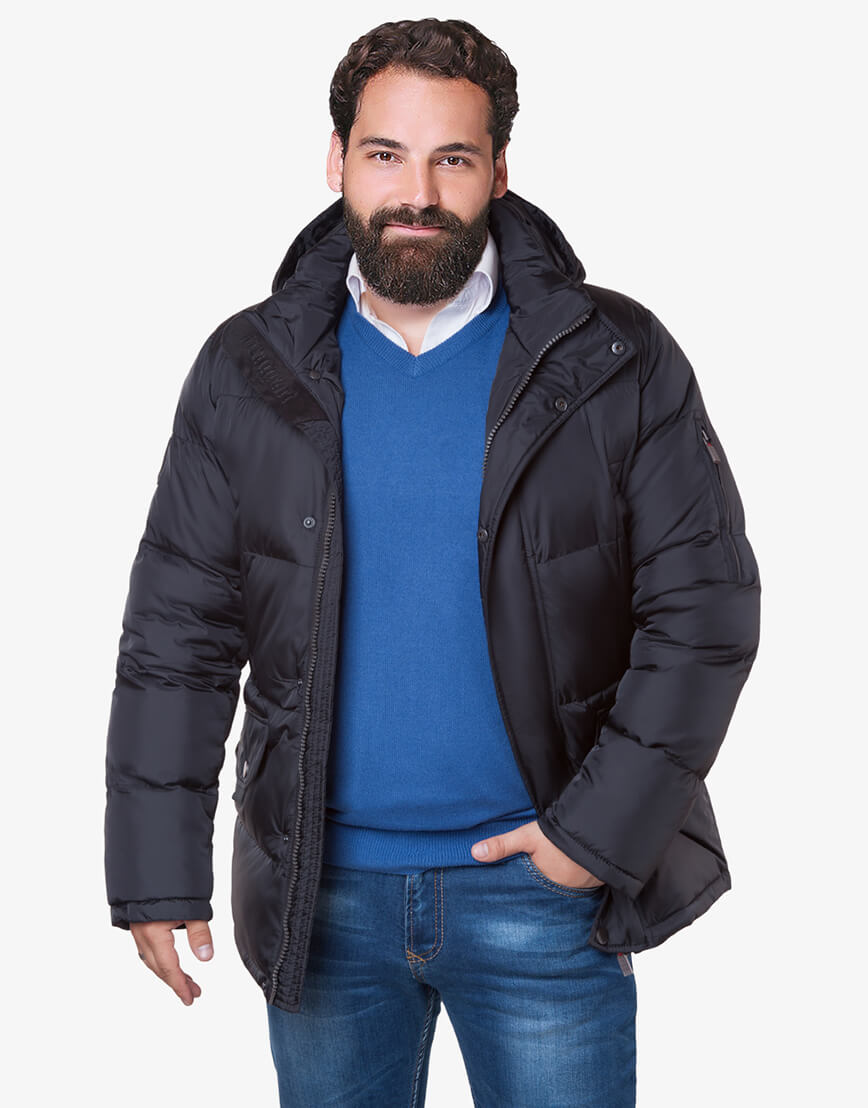 Мужская черная зимняя куртка большого размера модель 3284 оптом фото 1