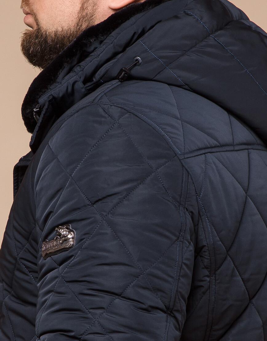 Темно-синяя зимняя куртка с капюшоном модель 19121 фото 6