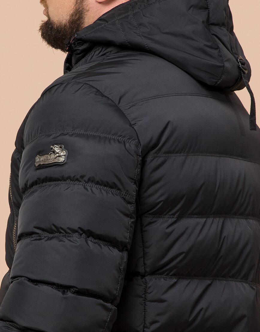 Куртка большого размера графитовая для мужчин зимняя модель 12952 оптом фото 6