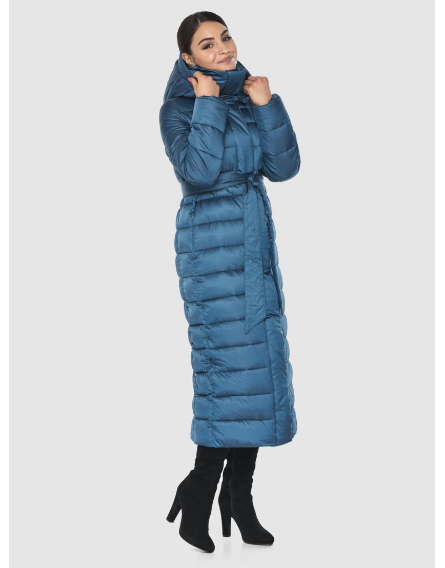 Длинная женская куртка Wild Club аквамариновая 524-65 фото 5