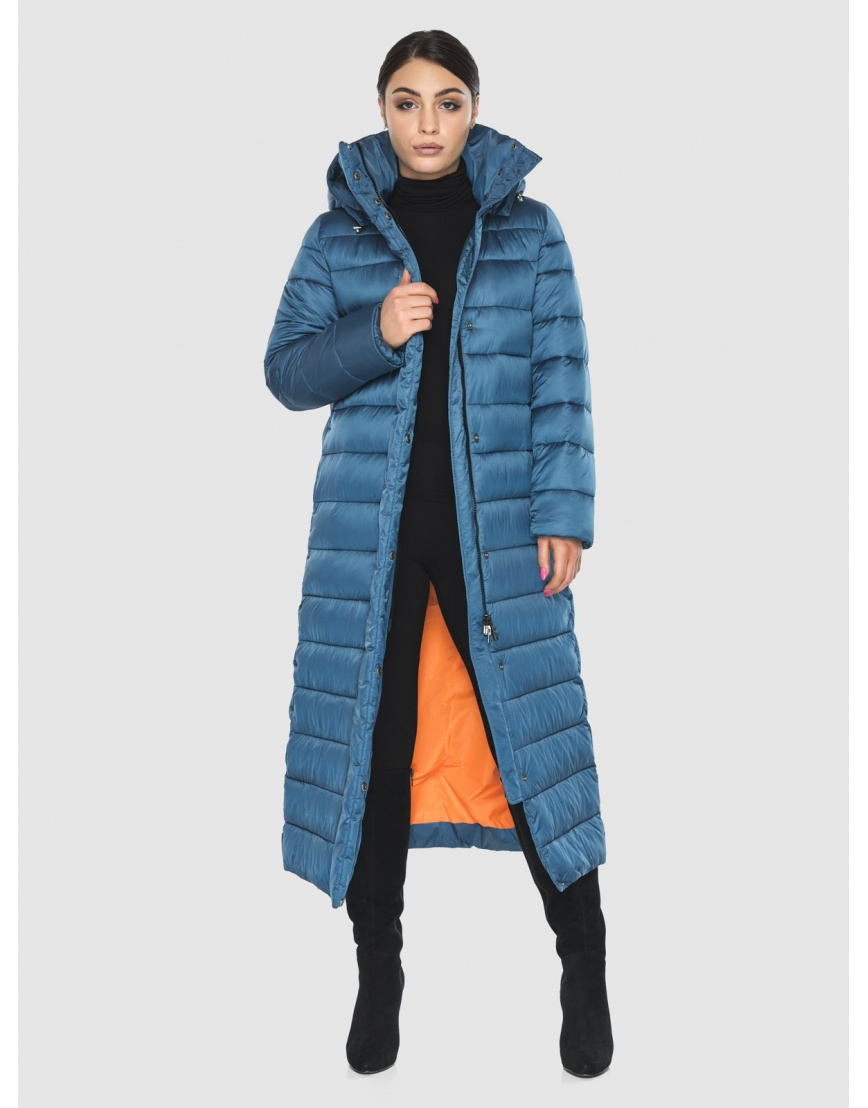 Длинная женская куртка Wild Club аквамариновая 524-65 фото 2