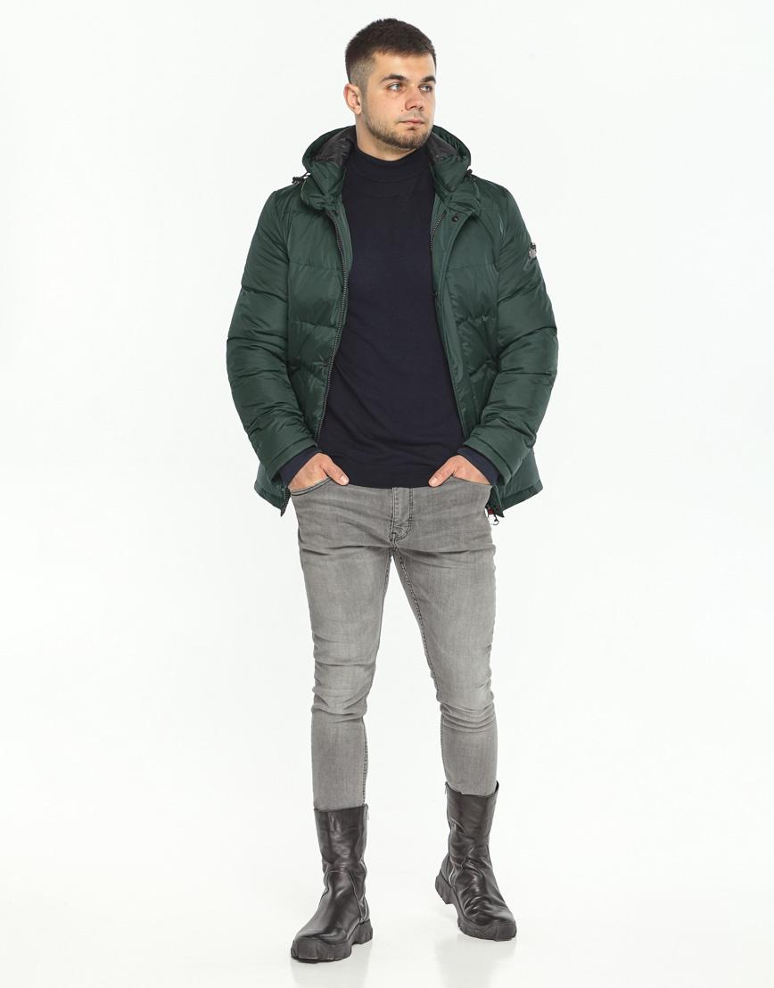 Куртка темно-зеленая фирменная зимняя модель 27544 фото 2