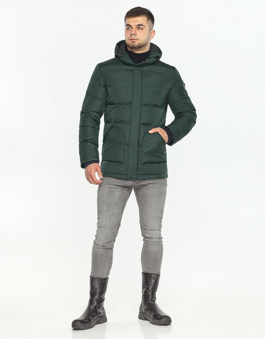 Куртка темно-зеленая фирменная зимняя модель 27544 фото 3
