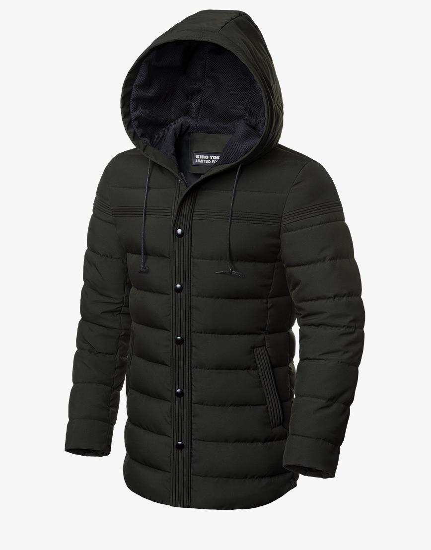 Темно-зеленая удобная зимняя куртка модель 8806 фото 1