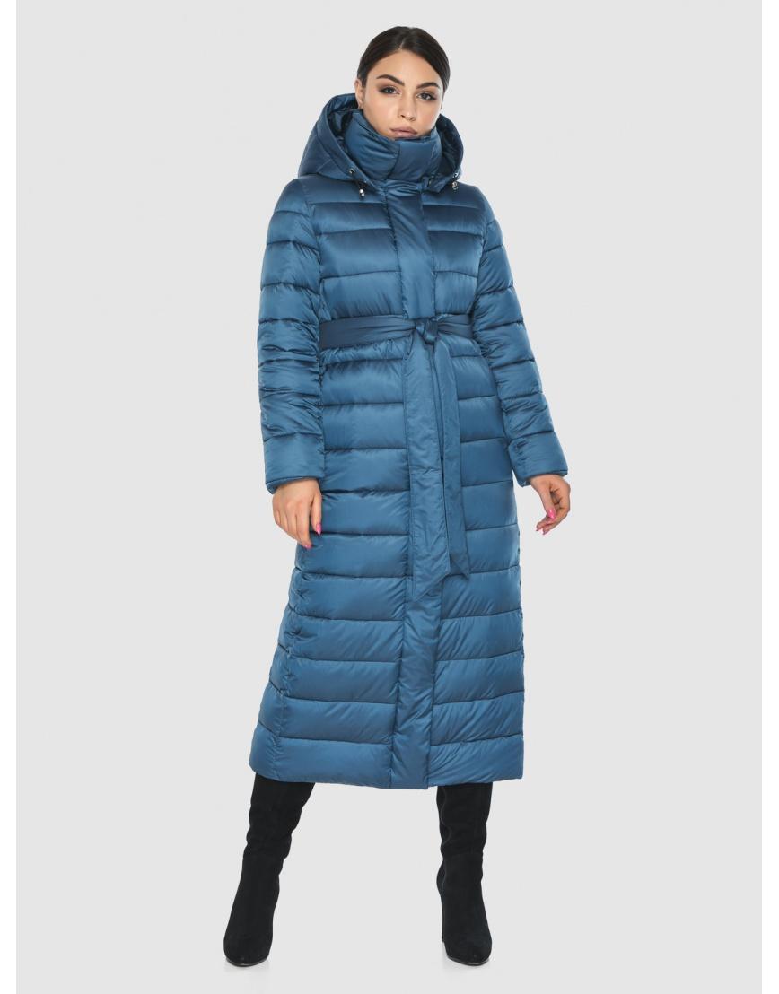 Длинная женская куртка Wild Club аквамариновая 524-65 фото 1
