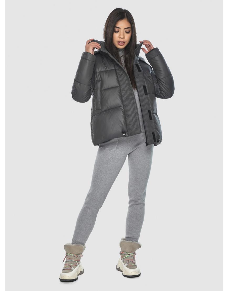 Серая подротковая куртка Moc зимняя с капюшоном M6981 фото 2