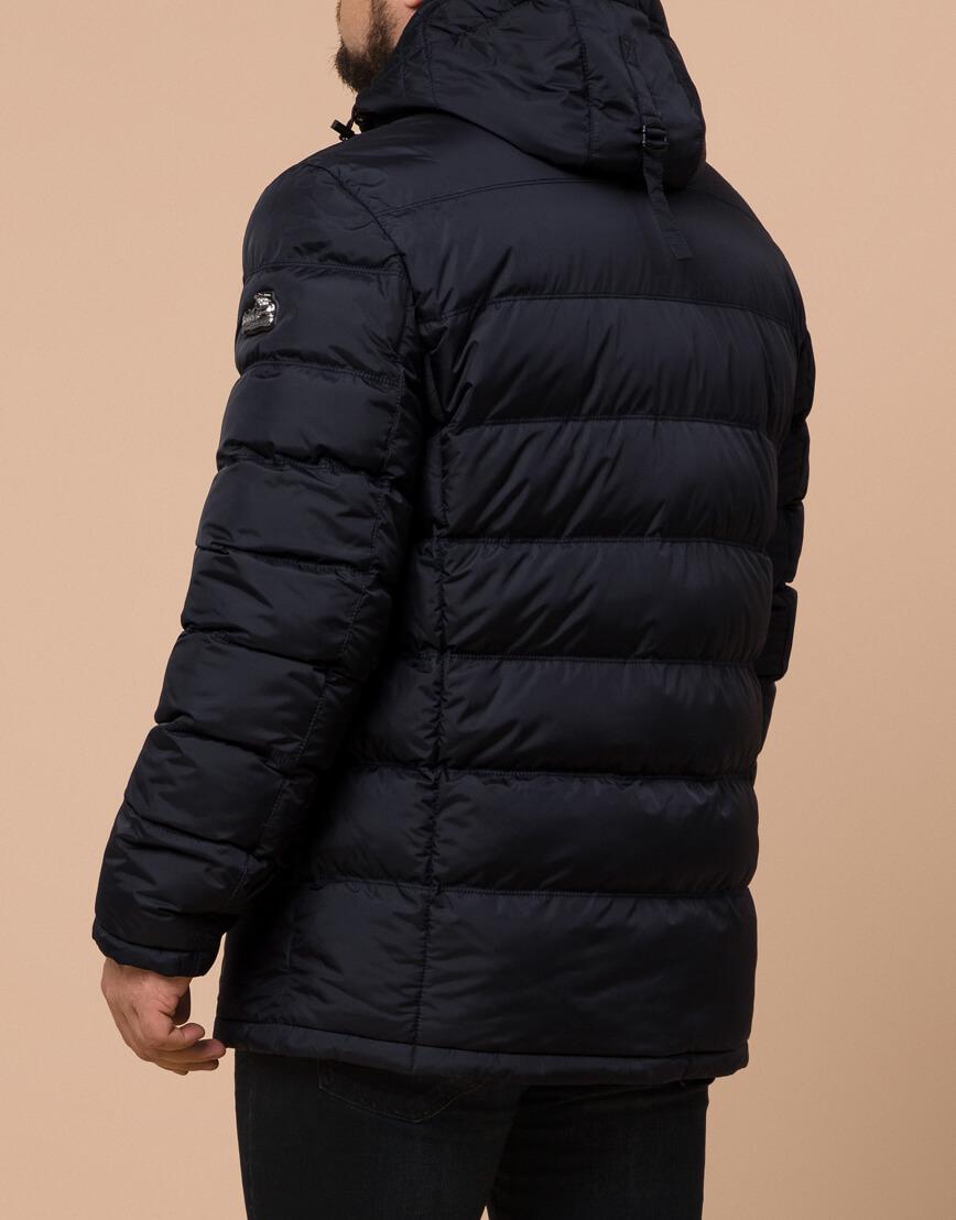 Куртка темно-синяя большого размера на зиму для мужчин модель 12952 оптом фото 3
