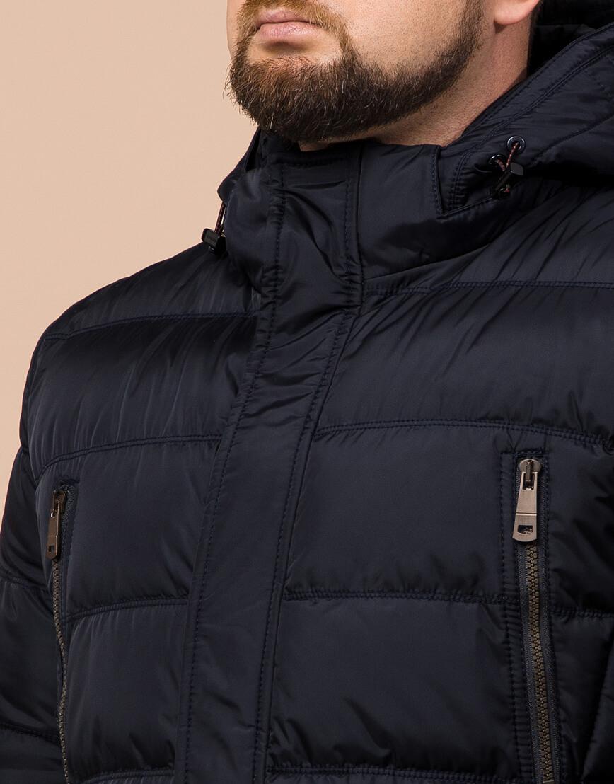Куртка темно-синяя большого размера на зиму для мужчин модель 12952 оптом фото 4