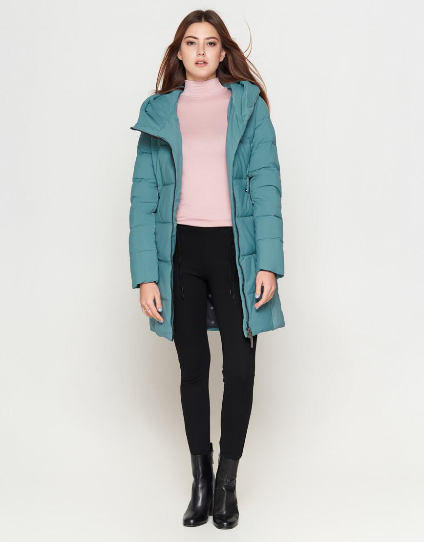 Зимняя женская молодежная зеленая куртка модель 25085