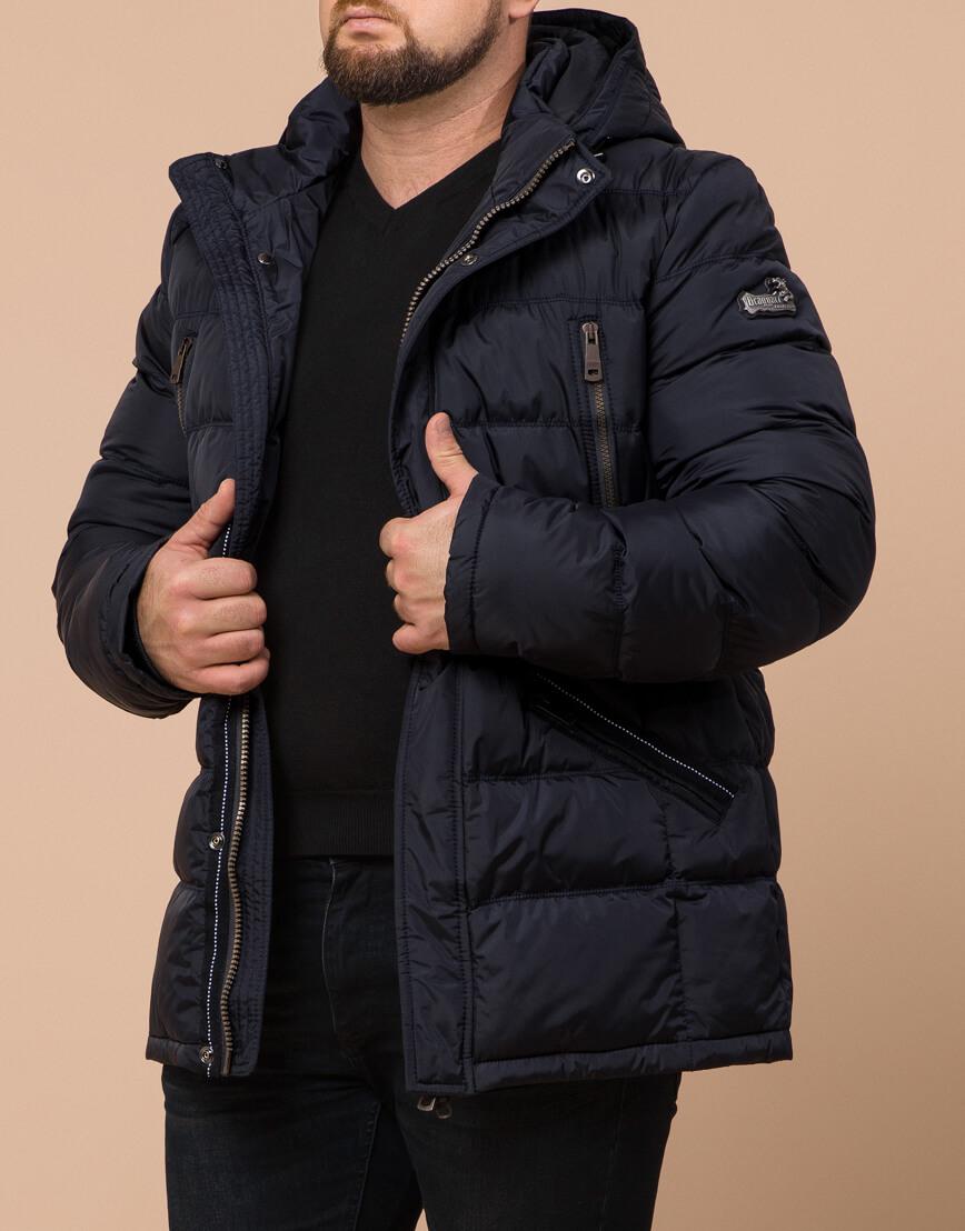 Куртка темно-синяя большого размера на зиму для мужчин модель 12952 оптом фото 1