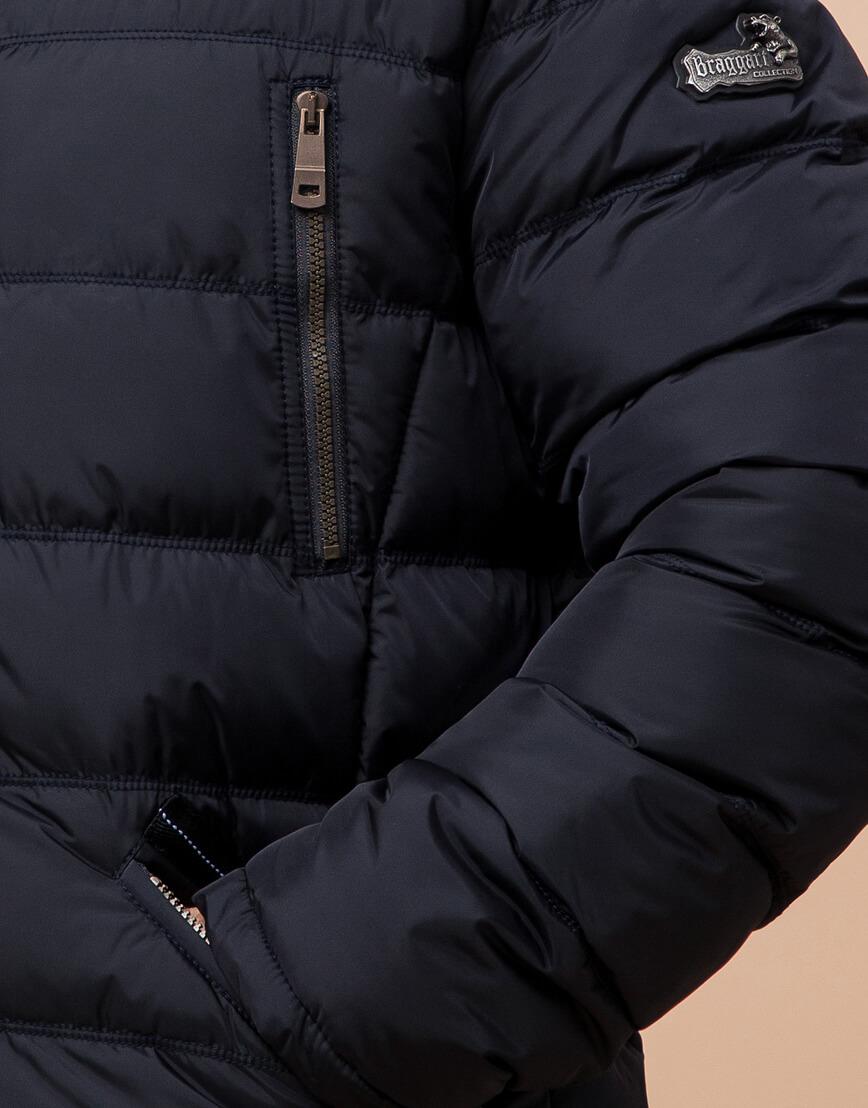 Куртка темно-синяя большого размера на зиму для мужчин модель 12952 оптом фото 5