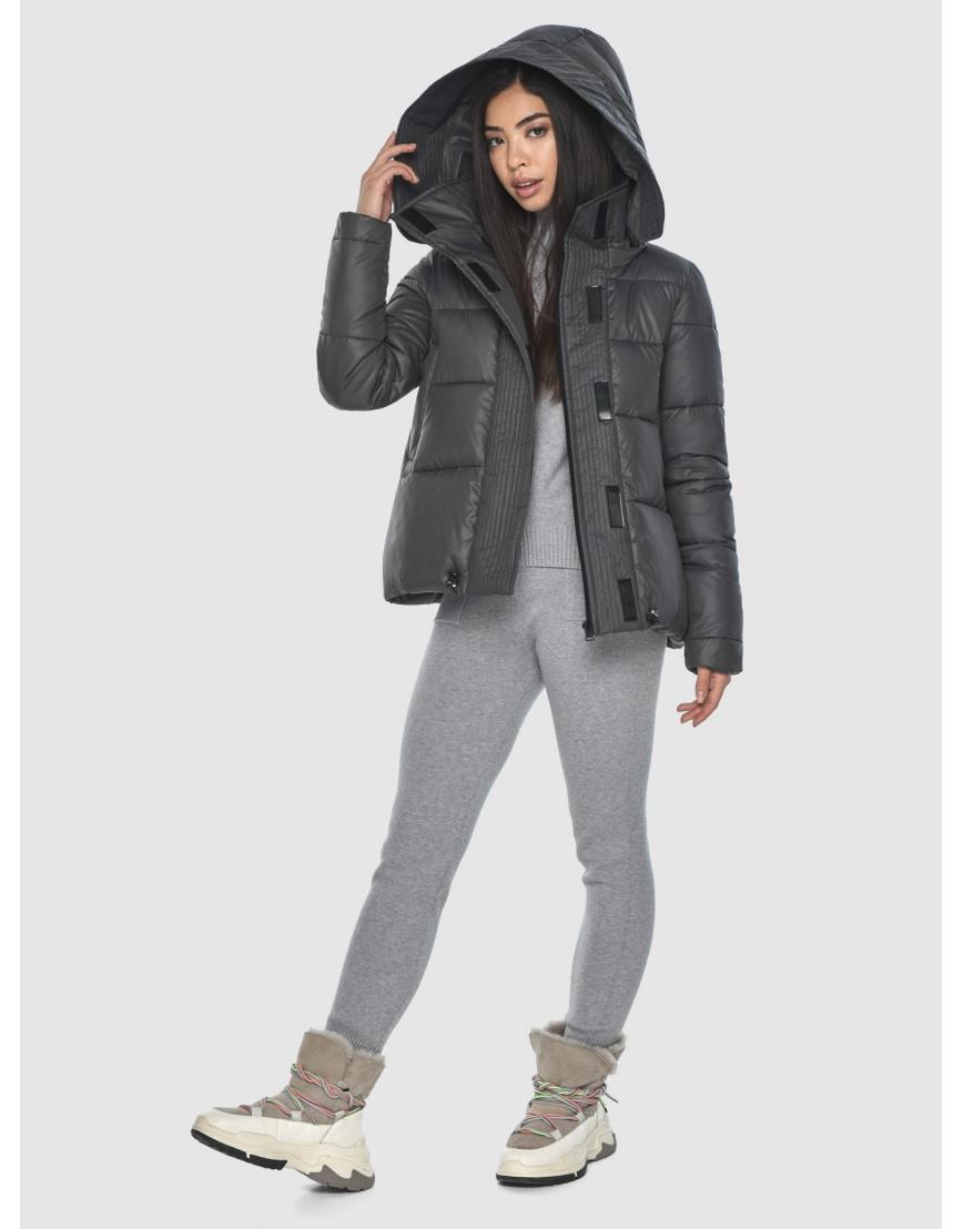 Серая подротковая куртка Moc зимняя с капюшоном M6981 фото 5