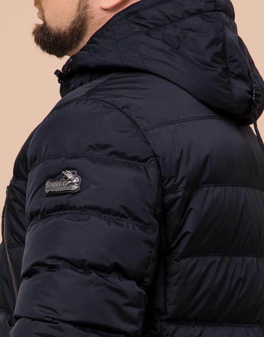 Куртка темно-синяя большого размера на зиму для мужчин модель 12952 оптом фото 6
