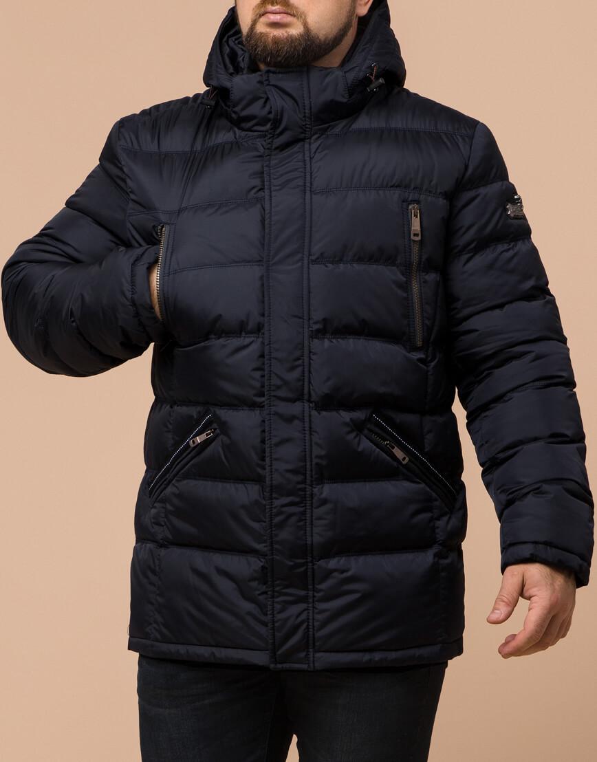 Куртка темно-синяя большого размера на зиму для мужчин модель 12952 оптом фото 2