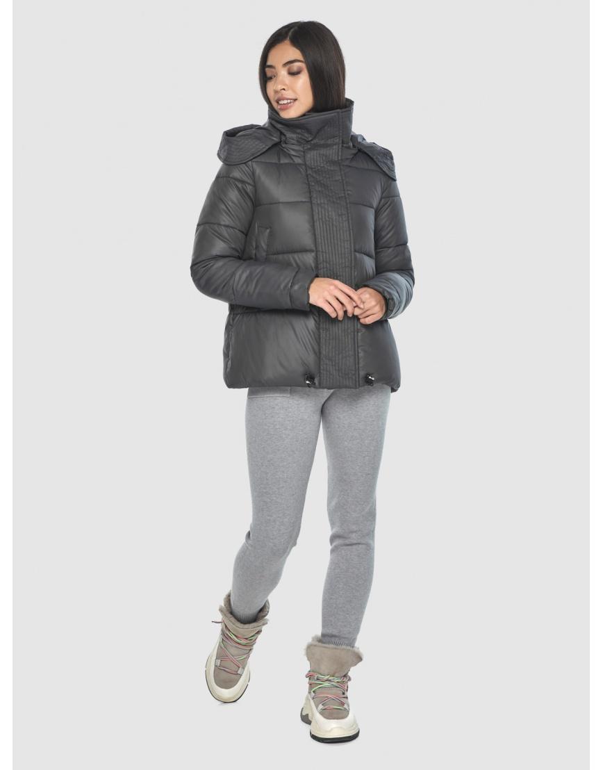 Серая подротковая куртка Moc зимняя с капюшоном M6981 фото 3