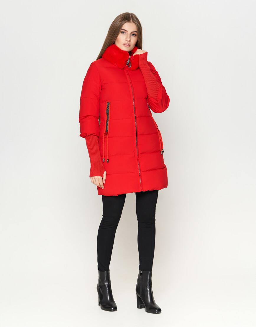 Красная куртка женская с карманами модель 1719