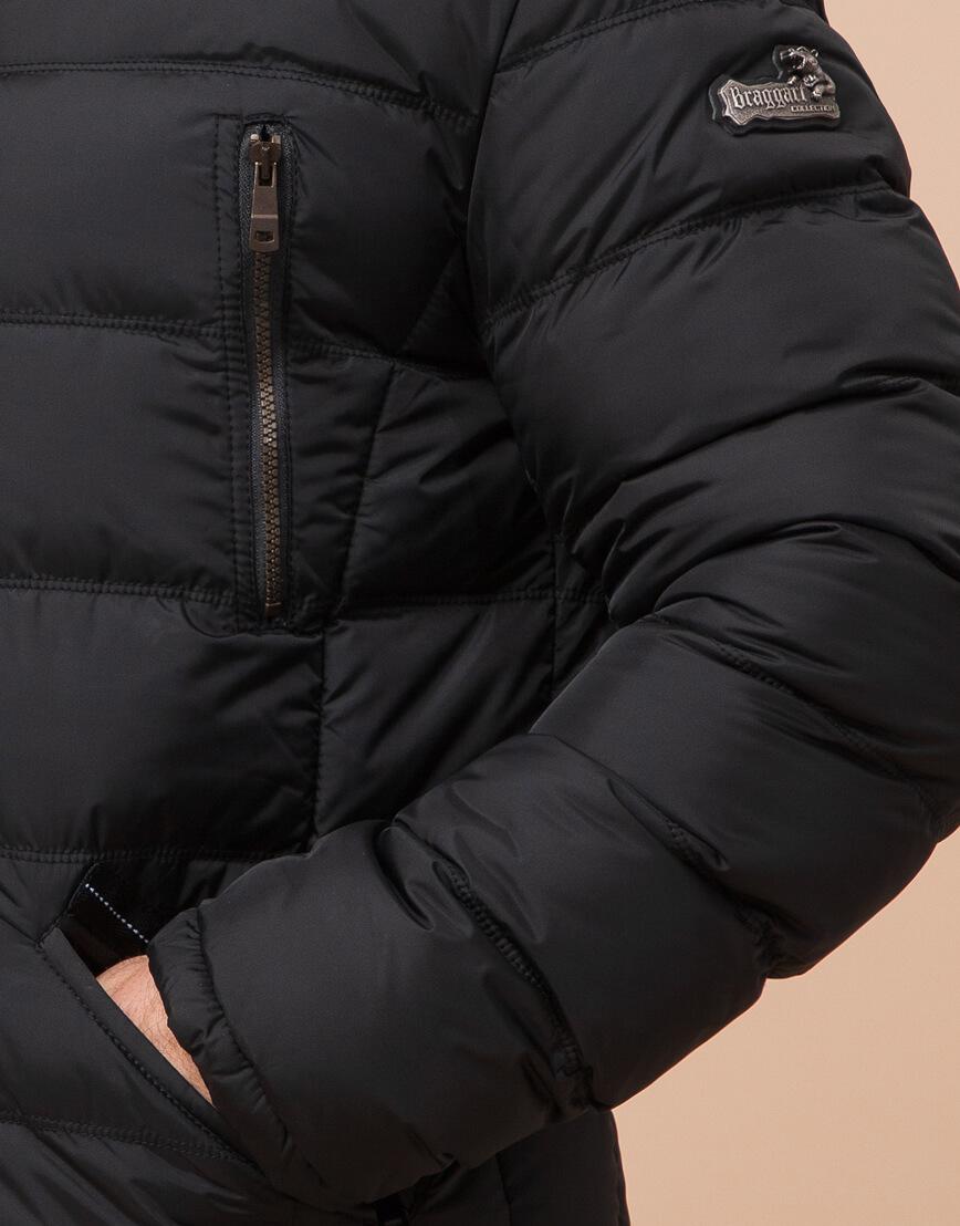 Зимняя куртка большого размера черная для мужчин модель 12952 оптом фото 5
