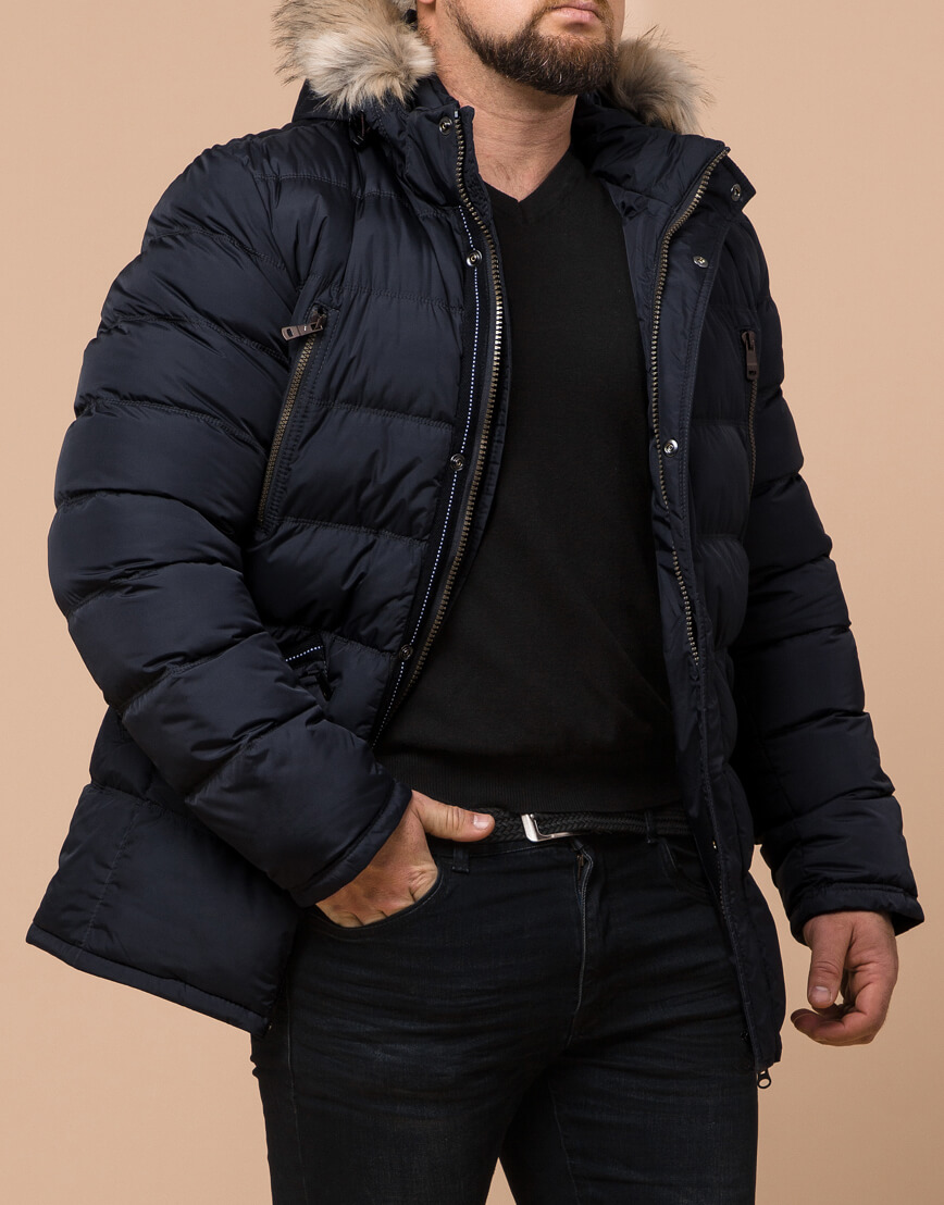 Удобная темно-синяя мужская куртка большого размера модель 23752 фото 2