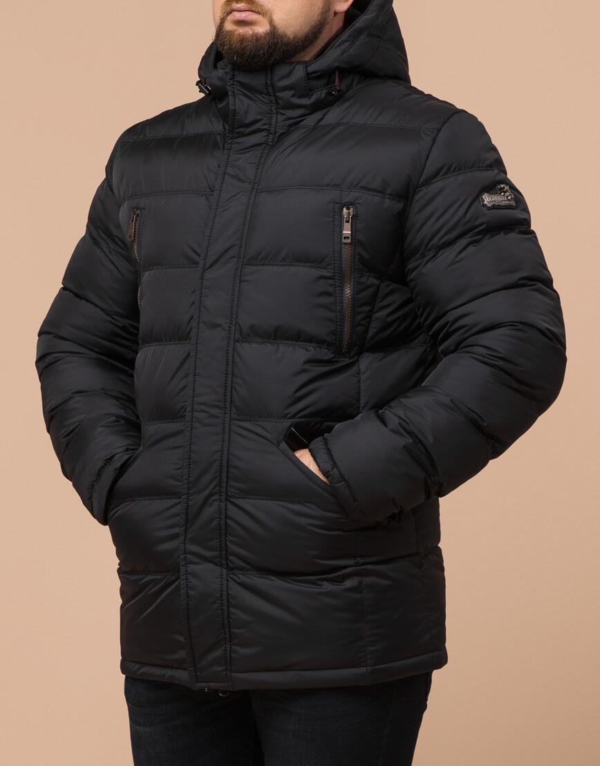 Зимняя куртка большого размера черная для мужчин модель 12952 оптом фото 1