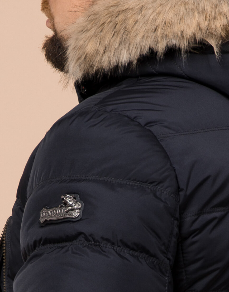 Удобная темно-синяя мужская куртка большого размера модель 23752 фото 6
