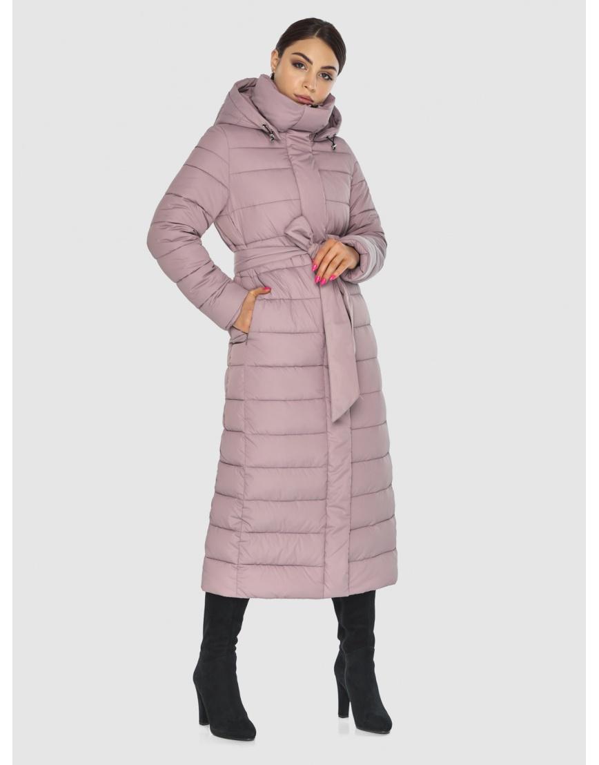 Фирменная женская куртка-пальто Wild Club цвет пудра 524-65 фото 5