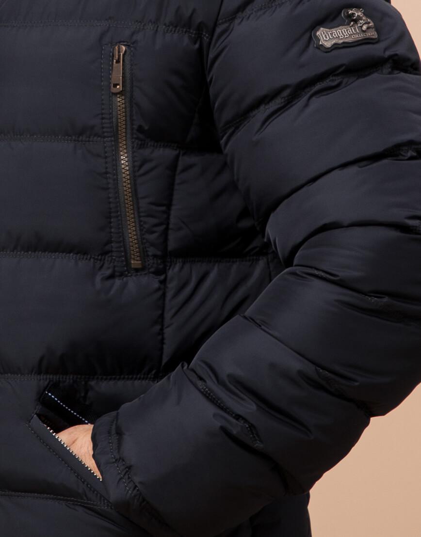 Удобная темно-синяя мужская куртка большого размера модель 23752 фото 5