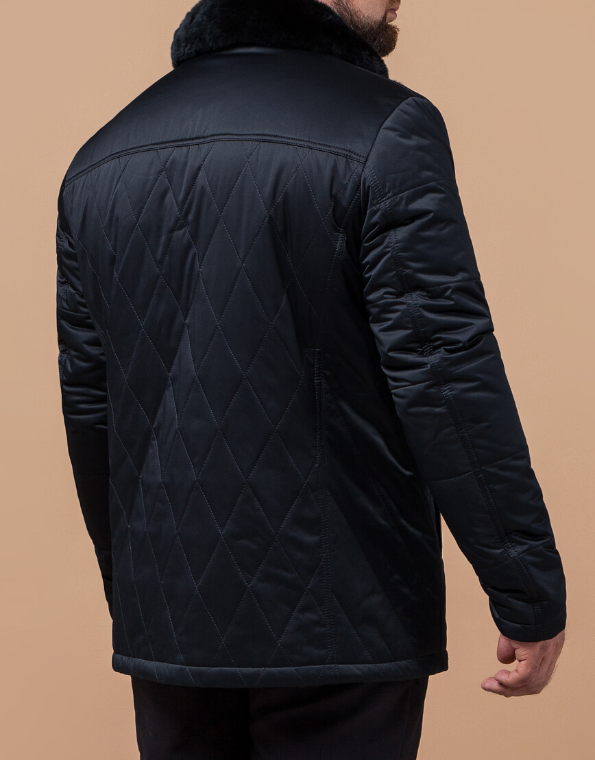 Черно-синяя куртка современная модель 17602