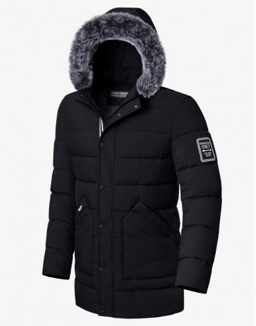 Мужская зимняя куртка черная модель 8802