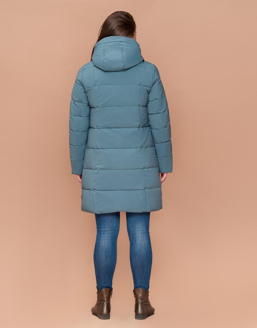 Трендовая женская приталенная куртка цвет светлая бирюза модель 25175