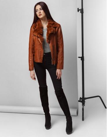 Коричневая качественная женская куртка модель 25605