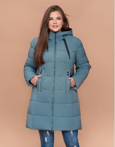 Трендовая женская куртка большого размера цвет светлая бирюза модель 25175