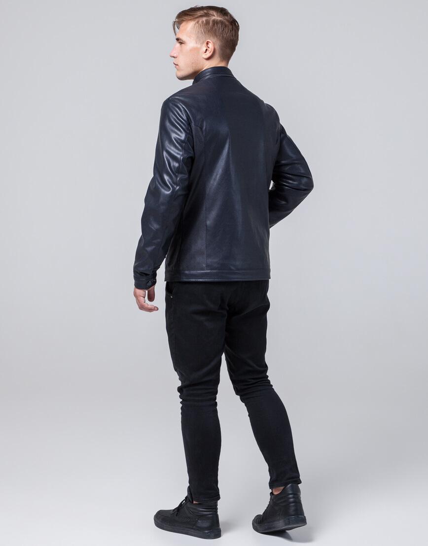 Темно-синяя куртка осенне-весенняя брендовая модель 2193 фото 4