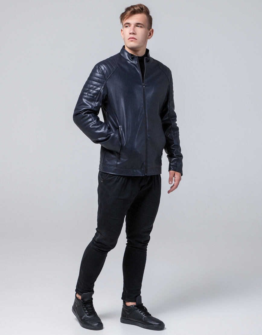 Куртка оригинальная молодежная цвет темно-синий модель 4327 фото 2