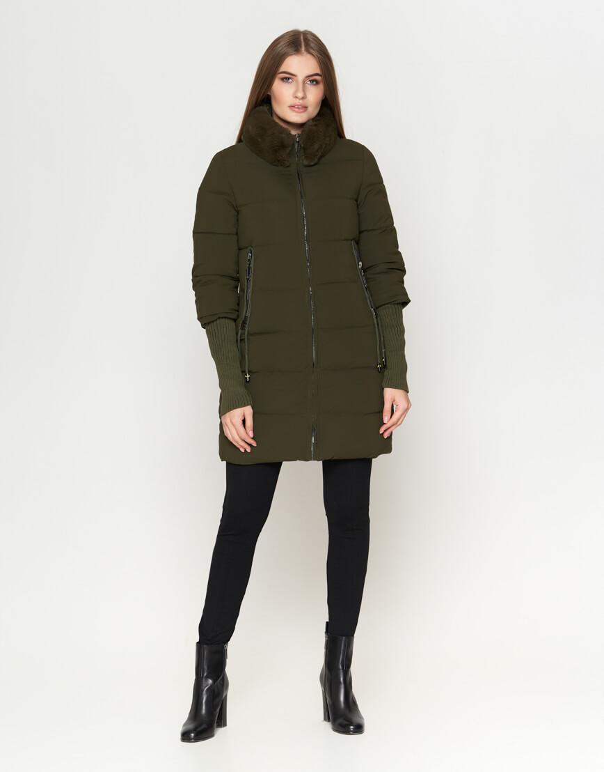 Современная куртка зимняя женская цвета хаки модель 1719