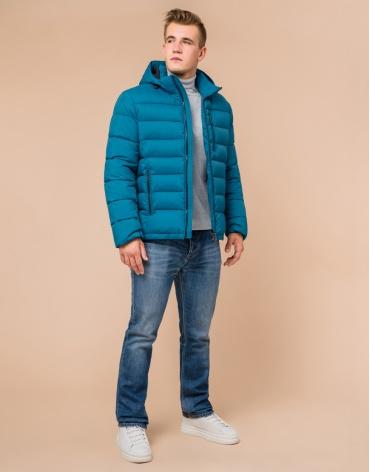 Куртка бирюзовая с качественной фурнитурой модель 36450