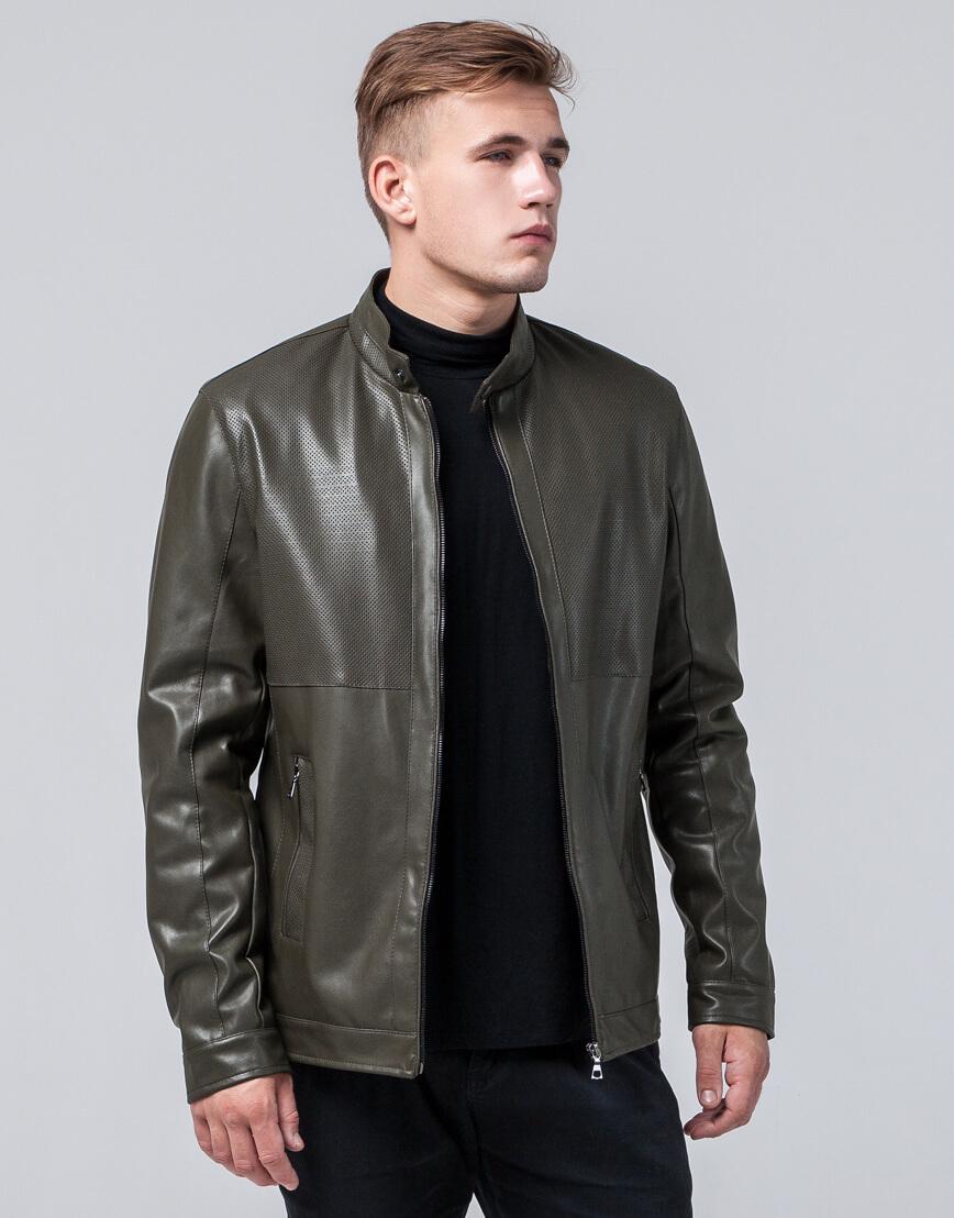 Куртка мужская легкая осенне-весенняя цвета хаки модель 2193 фото 3