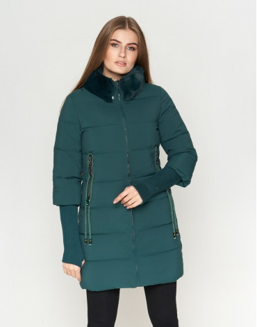 Зеленая куртка женская стильного дизайна модель 1719