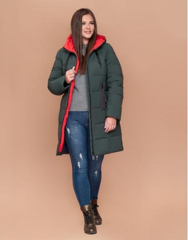 Комфортная женская куртка большого размера цвет серо-зеленый модель 25175