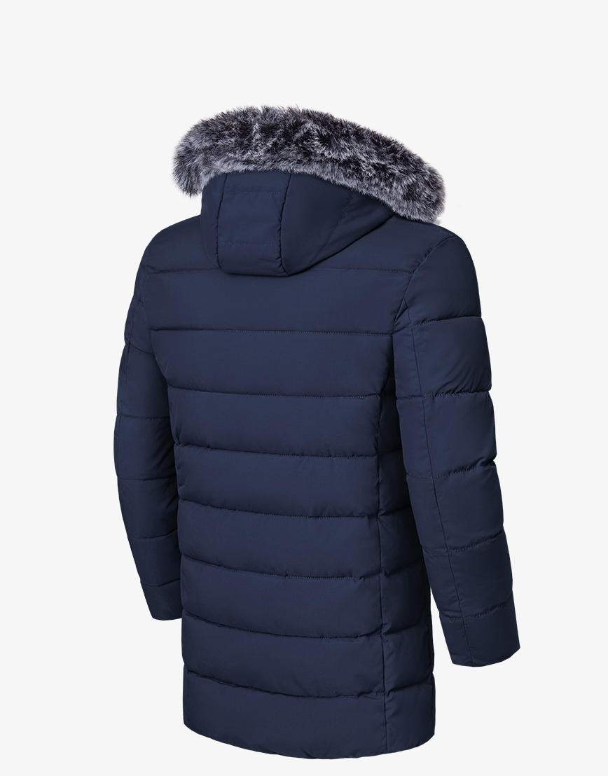 Теплая темно-синяя куртка зимняя модель 8802  фото 2