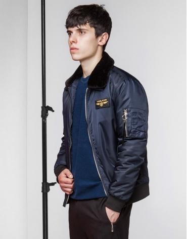 Бомбер осенне-весенний темно-синий модный модель 52121 оптом
