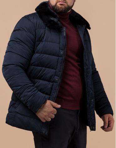 Комфортная темно-синяя куртка мужская модель 16148