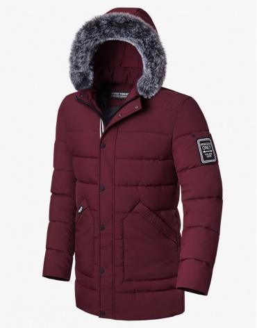 Куртка брендовая бордовая зимняя модель 8802