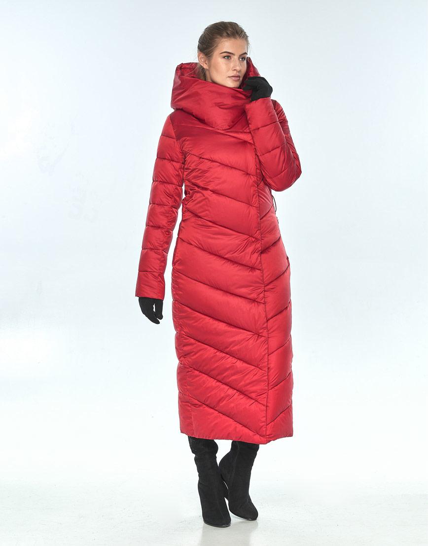 Красная женская куртка Ajento длинная зимняя 23046 фото 2