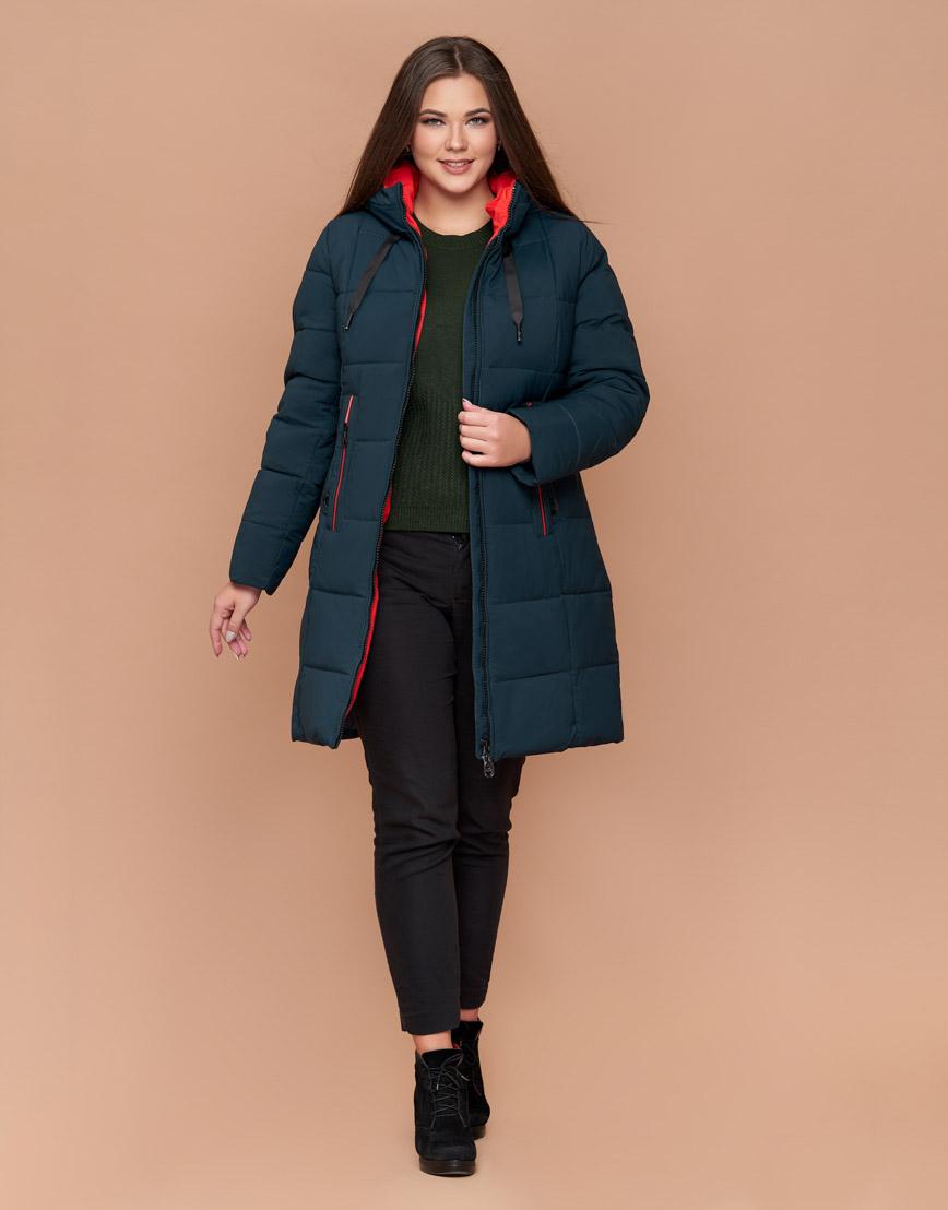 Оригинальная куртка женская большого размера темно-зеленая модель 25175