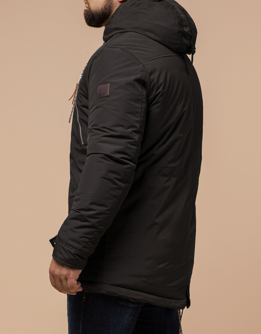 Парка мужская коричневая на зиму модель 43015 оптом фото 3