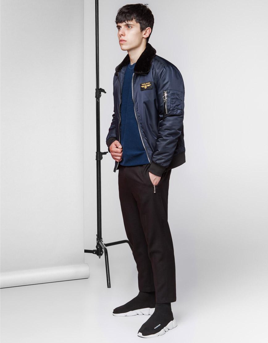 Куртка бомбер стильная темно-синяя модель 52121 фото 2