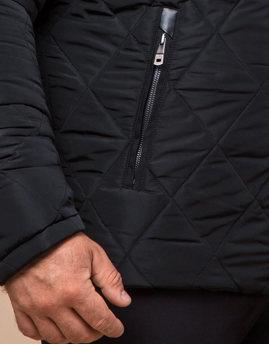 Мужская куртка зимняя цвет черный модель 19121 оптом фото 5