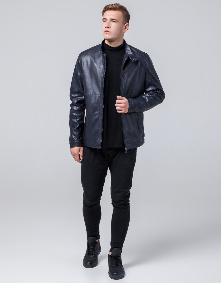 Трендовая темно-синяя молодежная куртка модель 2193