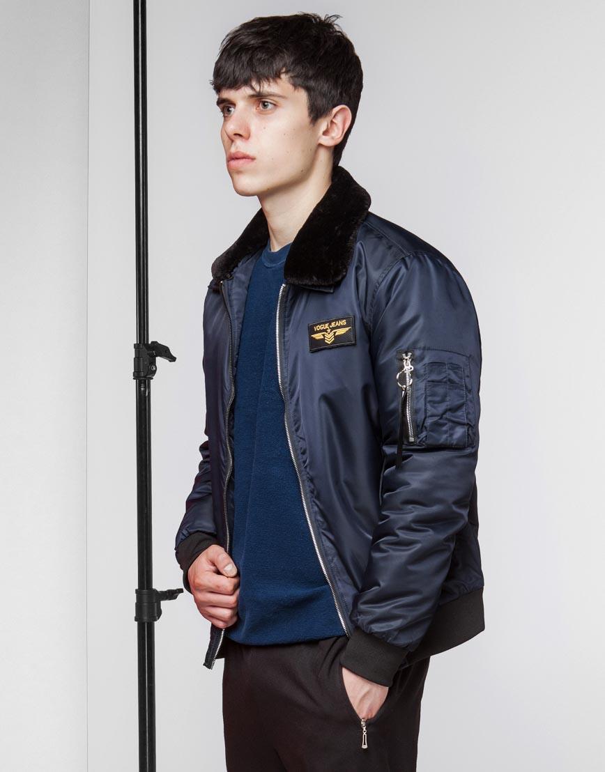 Куртка бомбер стильная темно-синяя модель 52121 фото 3